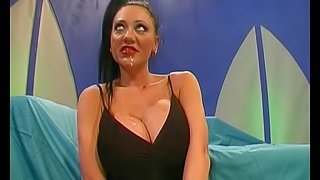 German whore with large tits enjoys a rough gangbang and facials