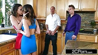 Whoring Wives Melissa Moore &amp_ Riley Reid Swap Husbands at Dinner Party